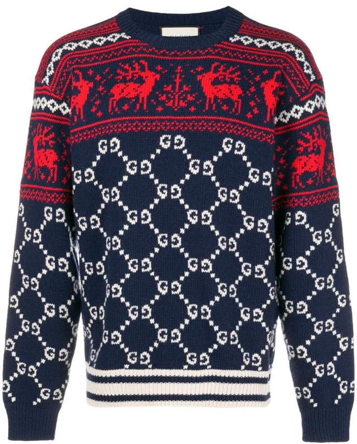 Gucci GG and reindeer jacquard sweater