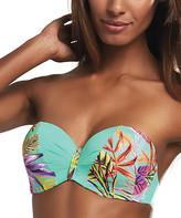 Kris Line Women's Bikini Tops ORIGINAL - Teal Cuba Floral Strapless Bikini Top - Plus Too