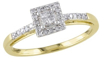 Tevolio 0.2 CT.T.W. Princess Cut Diamond Prong Set Engagement Ring in 10K Yellow Gold (GH I2:I3)