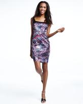 Jay Godfrey Abstract-Print Satin Paneled Dress, Black/Purple/Multi