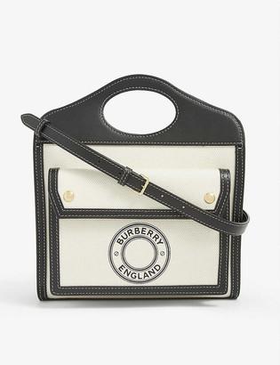 Burberry Mini logo-print canvas and leather pocket bag