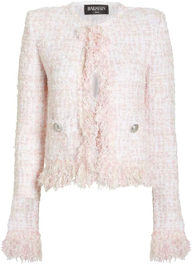 Balmain Cropped Tweed Suiting Jacket