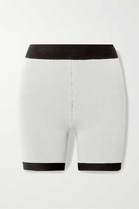 Bodhi Nagnata - Net Sustain Two-timer Technical-knit Organic Cotton-blend Shorts - Light gray