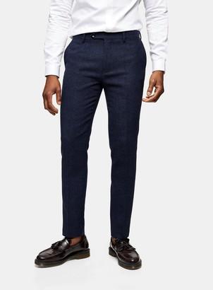 Topman HERITAGE Blue Herringbone Skinny Fit Suit Trousers