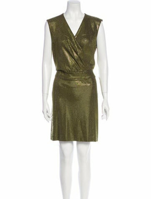 Balmain V-Neck Mini Dress Green