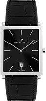 Pierre Petit Men's P-789A Serie Nizza Square Black Dial Genuine Leather Watch