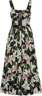 Dolce & Gabbana Lace-Up Floral-Print Cotton-Poplin Midi Dress