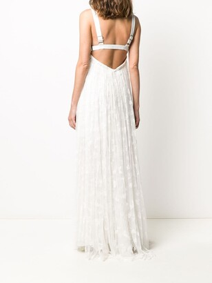 Maria Lucia Hohan V-neck embroidered tulle gown