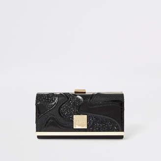 River Island Black glitter swirl cutabout cliptop purse