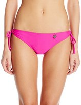 Hawaiian Tropic Women's Lace Up Solid Bikini Bottom Pink