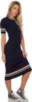 The Hidden Way Compact Knit Stripe Dress Blue
