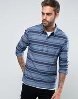 Lee Half Placket Overhead Space Dye Stripe Regular Fit Shirt In Navy