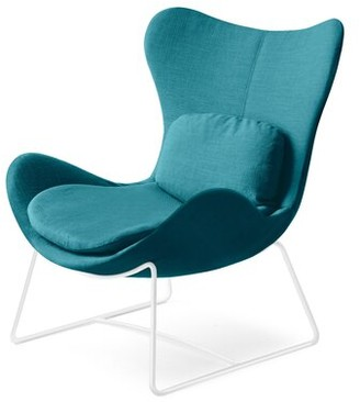 """Calligaris Lazy 35"""" W Polyester Balloon Chair Fabric: Berna Aquamarine Polyester, Leg Color: Matte Taupe"""