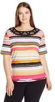 Rafaella Women's Plus Size Spring Break Stripe Novelty Trim Tee