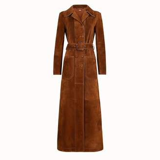 Exact Product: Kaia Gerber Tan Double Breasted Coat Autumn Winter 2020, Brand: Fendi, Available on: shopstyle.com, Price: $6900