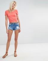 Vero Moda Embroidered Waist Denim Shorts