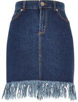 River Island Womens Blue wash frayed hem denim skirt