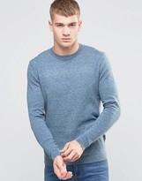 Asos Crew Neck Sweater in Blue Twist Cotton