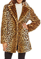 Calvin Klein Faux Fur Leopard Coat