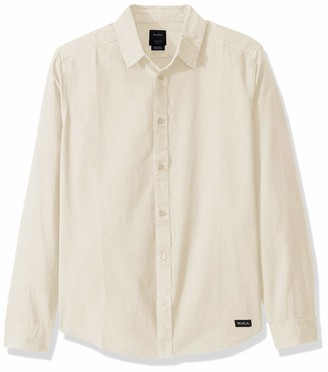 RVCA Men's Crushed Long Sleeve Woven Button Front Shirt