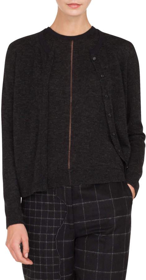 Akris Round-Neck Button-Front Cashmere-Silk Melange Knit Cardigan