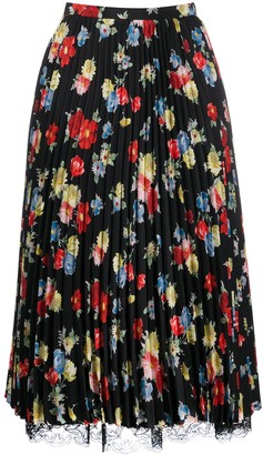 Ermanno Scervino Pleated Floral-Print Skirt