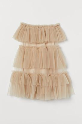 H&M Tulle-ruffled Dress - Beige