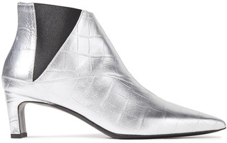 McQ Metta Metallic Croc-effect Leather Ankle Boots