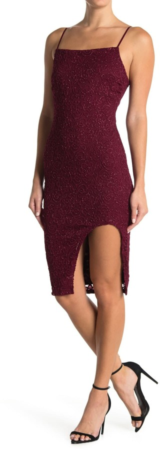 Love, Nickie Lew Glitter Lace Slit Bodycon Dress