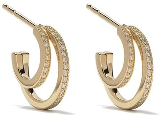 Georg Jensen 18kt yellow gold Halo brilliant cut diamond hoop earrings