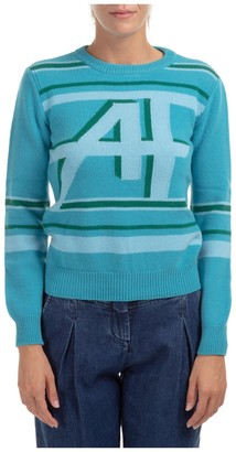 Alberta Ferretti Logo Intarsia Crew Neck Sweater