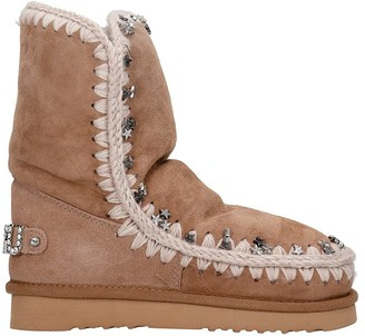Mou Eskimo 24 Low Heels Ankle Boots In Rose-pink Suede