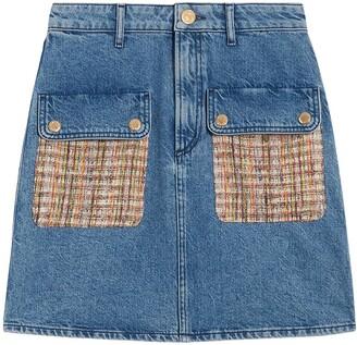 Sandro Tweed Pocket Denim Skirt
