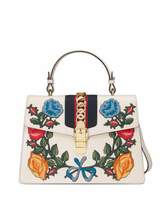 Gucci Sylvie Embroidered Leather Top-Handle Satchel Bag, White/Multi