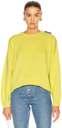 Balenciaga Long Sleeve Crewneck Sweater in Lime | FWRD
