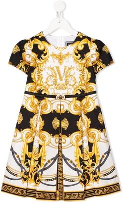 Versace Baroque-Print Box Pleated Dress