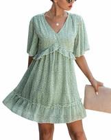 Kirundo KIRUNDO Summer Womens Floral Ruffle Hem Mini Dress Short Sleeves V Neck High Waist Loose Boho Dress (XX-Large