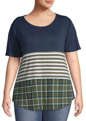 Terra & Sky Women's Plus Size Color Blocked Short Sleeve Tee