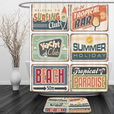 Vipsung Shower Curtain And Ground Mat1950s Decor by Summer Holiday Vintage Camping Beach Sign Boards in Old Style Faint Colors Art Print MultiShower Curtain Set with Bath Mats Rugs