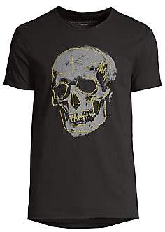 John Varvatos Men's Embroidery Skull Graphic T-Shirt