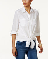 Style&Co. Style & Co Cotton Tie-Front Roll-Tab Shirt, Only at Macy's