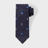 Paul Smith Men's Navy Mushroom And Rainbow Pattern Narrow Silk Tie