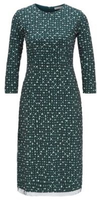 BOSS Stretch-jersey dress with dot print and embroidered overlay
