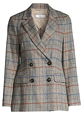 Peserico Women's Stretch Prince of Wales Check Wool-Blend Double-Breasted Blazer