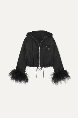 Prada Reversible Cropped Feather-trimmed Denim And Nylon Jacket - Black