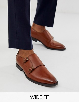 Asos Design DESIGN Wide Fit monk shoes in faux tan leather