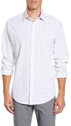 Mizzen+Main Bateman Trim Fit Plaid Button-Up Performance Shirt