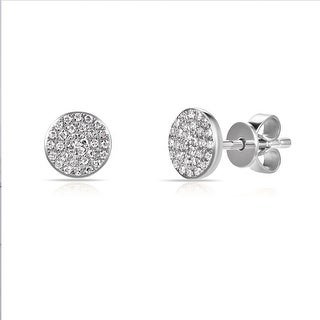 Overstock Diamond Round Pave Disc Studs Earrings 14k Gold 1/5ct TDW by Joelle Collection