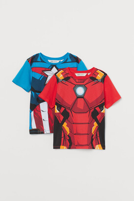 H&M 2-pack Printed T-shirts - Red