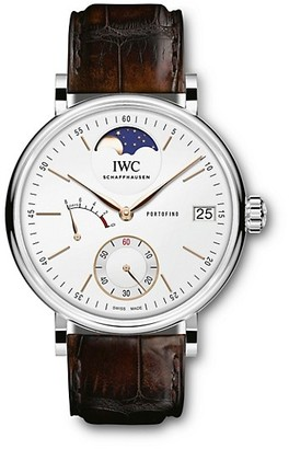 IWC Portofino Stainless Steel & Alligator Strap Hand-Wound Moon Phase Watch